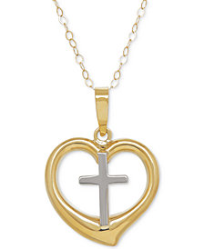Two-Tone Cross in Heart Pendant Necklace in 10k Gold