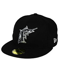 New Era Florida Marlins Black and White Fashion 59FIFTY Fitted Cap