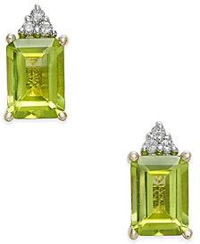 Peridot (2-1/10 ct. t.w.) & Diamond Accent Stud Earrings in 14k Gold