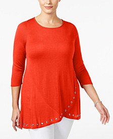 Plus Size Grommet-Trim Tunic