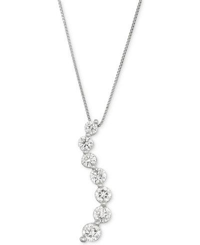 Diamond Curve Pendant Necklace (1 ct. t.w.) in 14k White Gold