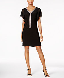 MSK Embellished Flutter-Sleeve Dress