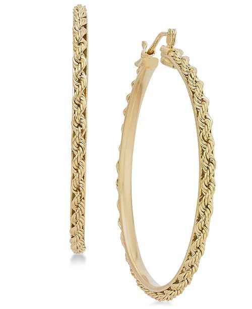 Rope Chain Hoop Earrings In 14k Gold