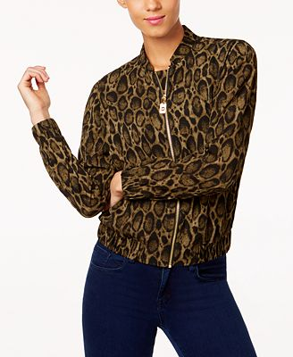MICHAEL Michael Kors Leopard-Print Bomber Jacket, a Macy's ...