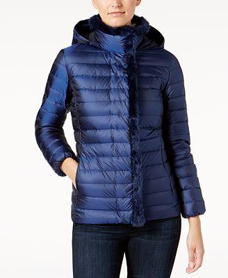 Cole Haan Signature Faux-Fur-Trim Down Puffer Coat - Coats - Women ...