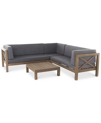 Noble House Falana 4 Pc Outdoor Sectional Quick Ship Furniture