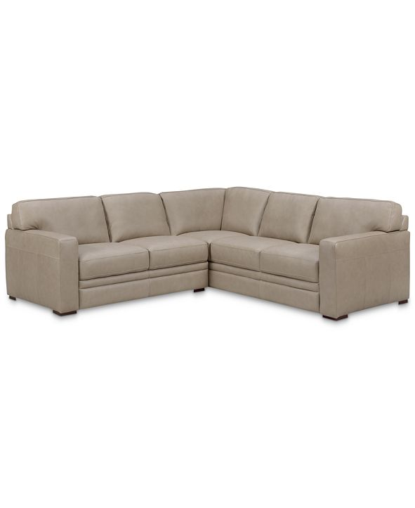 """Furniture Avenell 2-Pc. Leather """"L""""-Shaped Sectional Sofa, Created for Macy's"""