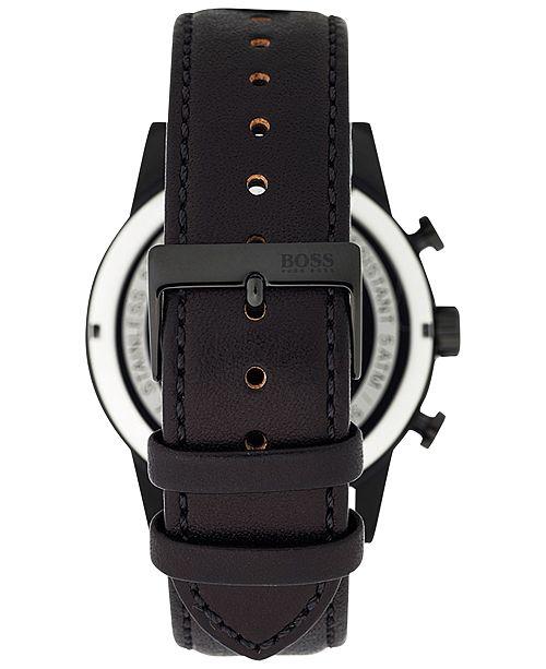 137c55b2bc5 ... BOSS Men s Chronograph Navigator Black Leather Strap Watch 44mm 1513497  ...