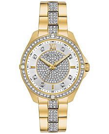 Bulova Women's Gold-Tone Stainless Steel & Crystal Bracelet Watch 35mm