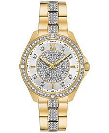 Bulova Women's Gold-Tone Stainless Steel & Crystal Bracelet Watch 35mm