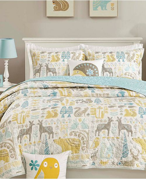 INK+IVY Woodland 3-Pc. Quilted Twin Coverlet Set