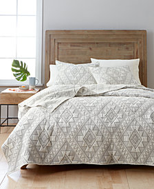Martha Stewart Collection Canyonlands 100% Cotton Embroidered Quilt and Sham Collection, Created for Macy's