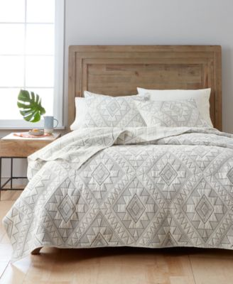 martha stewart collection canyonlands cotton embroidered king quilt created for macyu0027s