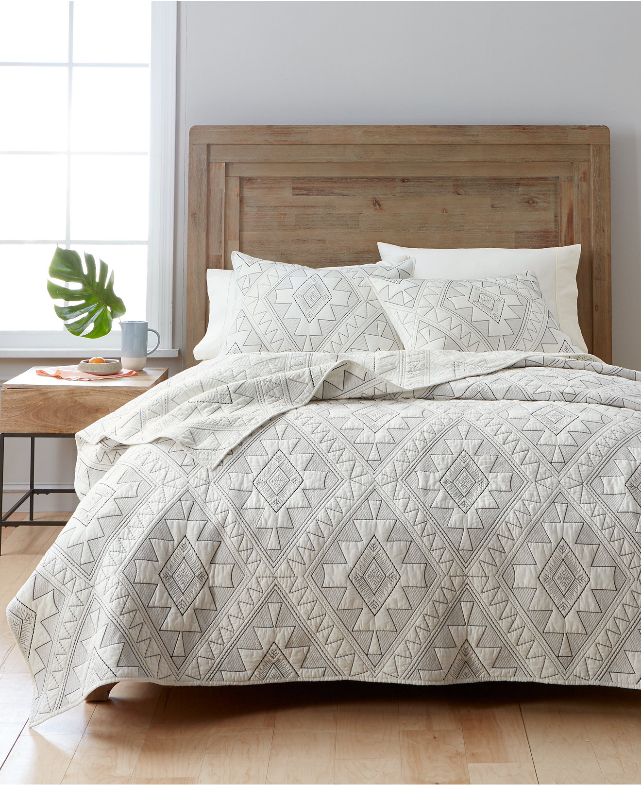 quilts and bedspreads  macy's - martha stewart collection canyonlands cotton embroidered quilt and shamcollection created for macy's
