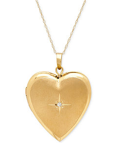 Locket pendant necklace collection in sterling silver and 14k gold macys diamond accent heart locket pendant necklace in 10k gold aloadofball Gallery