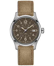 Hamilton Men's Swiss Automatic Khaki Field Brown Canvas Strap Watch 40mm