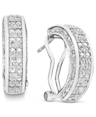 Rose Cut Diamond Hoop Earrings In 18k Gold Over Sterling Silver Or 1 2 Ct T W