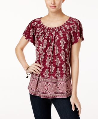 Image of Style & Co Printed Pleat-Neck Top, Created for Macy's