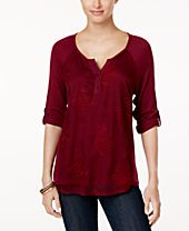 Style & Co Embroidered Split-Neck Top, Created for Macy's