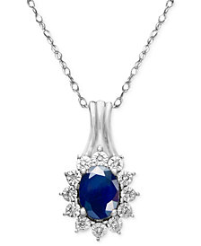 Sapphire (9/10 ct. t.w.) and Diamond Accent Pendant Necklace in 10k White Gold