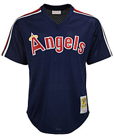 Mitchell & Ness Men's Rod Carew Los Angeles Angels Authentic Mesh Batting Practice V-Neck Jersey
