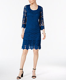 Alfani Crochet-Trim Illusion Dress, Created for Macy's