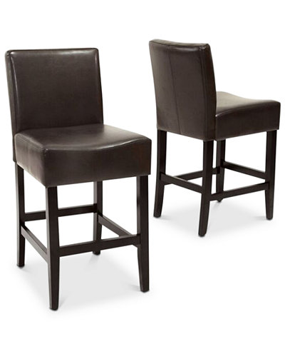 Dawken Leather Counter Stool (Set Of 2), Quick Ship