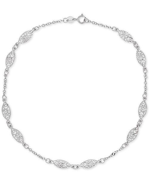 3fa47815debfcb Macy's Decorative Link Ankle Bracelet in 14k White Gold & Reviews ...