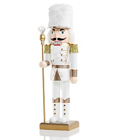 Holiday Lane Shine Bright White and Gold Soldier Nutcracker, Created for Macy's