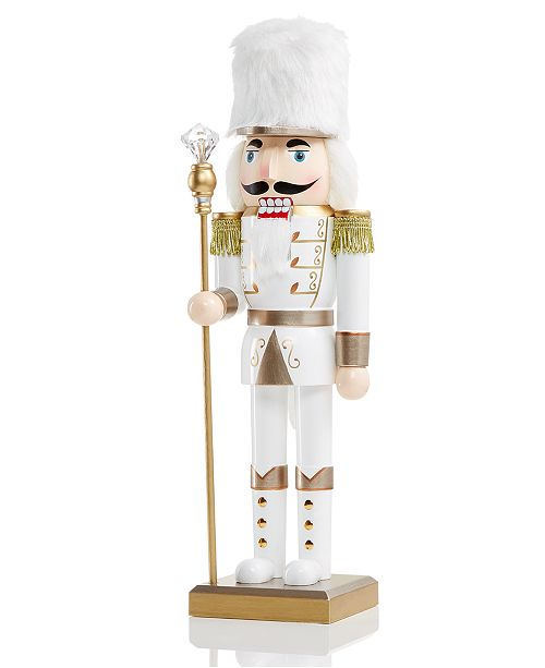 """Holiday Lane 14"""" Wood Shimmer and Shine Nutcracker, Created for Macy's"""