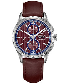 Hamilton Men's Swiss Automatic Chronograph Broadway Burgundy Leather Strap Watch 40mm