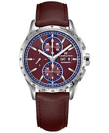 Hamilton Men's Swiss Automatic Chronograph Broadway Burgundy Leather Strap Watch 40mm