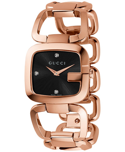 Gucci Women's Swiss G-Gucci Diamond Accent Pink Gold-Tone PVD Stainless Steel Bracelet Watch 32x30mm YA125409