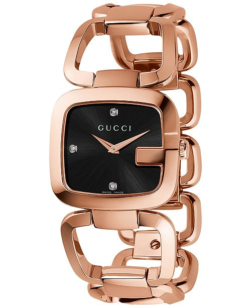 b33e5f6ac72 ... Gucci Women s Swiss G-Gucci Diamond Accent Pink Gold-Tone PVD Stainless  Steel Bracelet ...