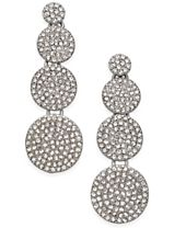 INC International Concepts Silver-Tone Pavé Disc Drop Earrings, Created for Macy's