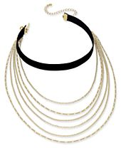 INC International Concepts Gold-Tone Multi-Layer Chain & Black Velvet Choker Necklace, Created for Macy's