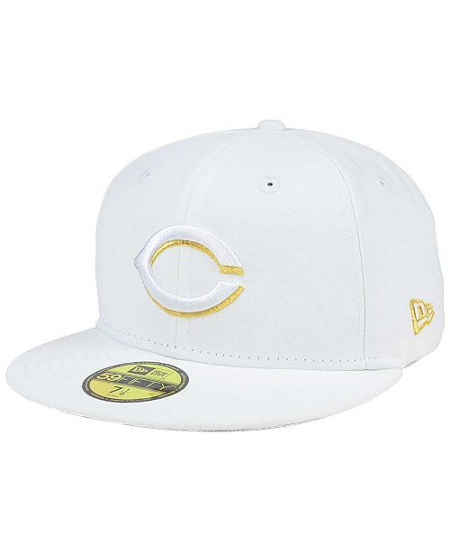 size 40 d55aa e8698 ... New Era Cincinnati Reds White On Metallic 59FIFTY Cap ...