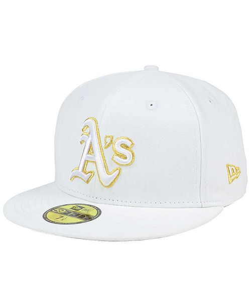 6b8ae0809 New Era Oakland Athletics White On Metallic 59FIFTY Cap - Sports Fan ...