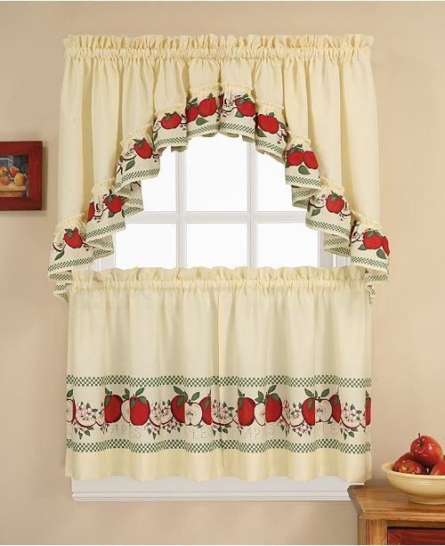 "CHF Red Delicious 36"" Window Tier & Swag Valance Set"