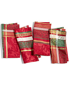 CLOSEOUT! Bardwil Holly Time Napkins, Set Of 4