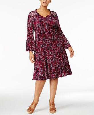 Style & Co Plus Size Printed Peasant Dress, Created for Macy's