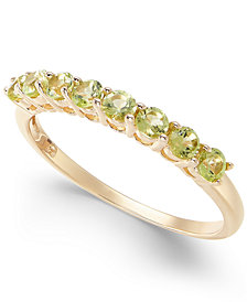 Peridot Eight-Stone Ring in 14k Gold