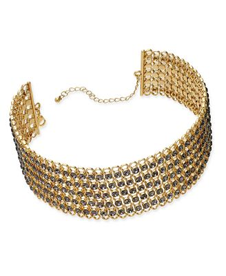 M. Haskell for I.N.C. Gold-Tone Black Stone Mesh Choker Necklace, Created for Macy's