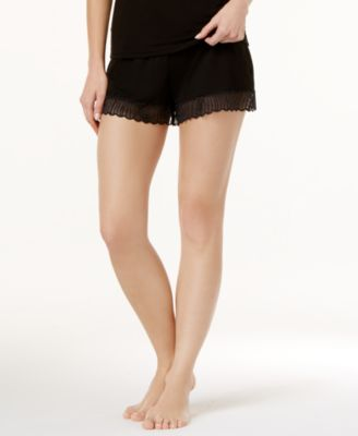 Minoa Sheer-Lace-Trim Pajama Shorts MINSW0841