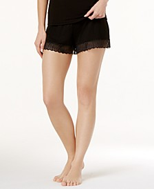Minoa Sheer-Lace-Trim Pajama Shorts MINSW0841