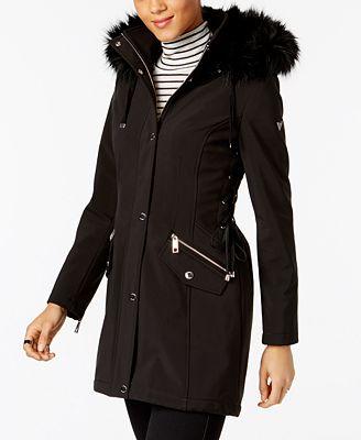 GUESS Faux-Fur-Trim Lace-Up Coat - Coats - Women