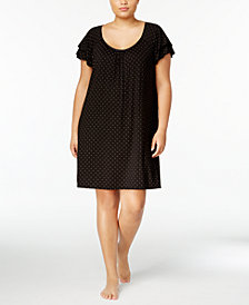Alfani Plus Size Flutter-Sleeve Printed Chemise, Created for Macy's