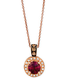 Le Vian Chocolatier® Raspberry Rhodalite® (3/4 ct. t.w.) & Diamond (1/6 ct. t.w.) Pendant Necklace in 14k Rose Gold