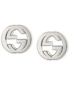 Interlocking Logo Stud Earrings in Sterling Silver