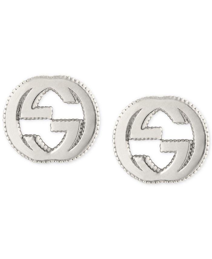 Gucci - Interlocking Logo Stud Earrings in Sterling Silver